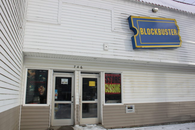 The Blockbuster in downtown Juneau closed Monday. (Photo by Scott Forbes)