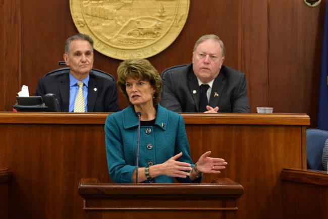 Sen. Lisa Murkowski speaks to the Alaska Legislature on Wednesday. (Photo by Skip Gray/360 North)