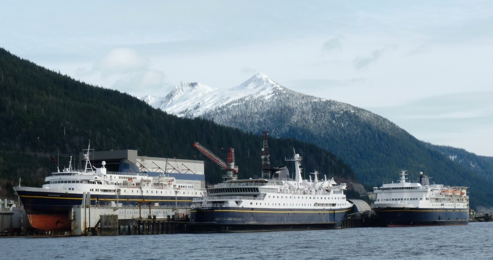 Three ferries tie up at the Ketchikan Shipyard in the winter of 2012.