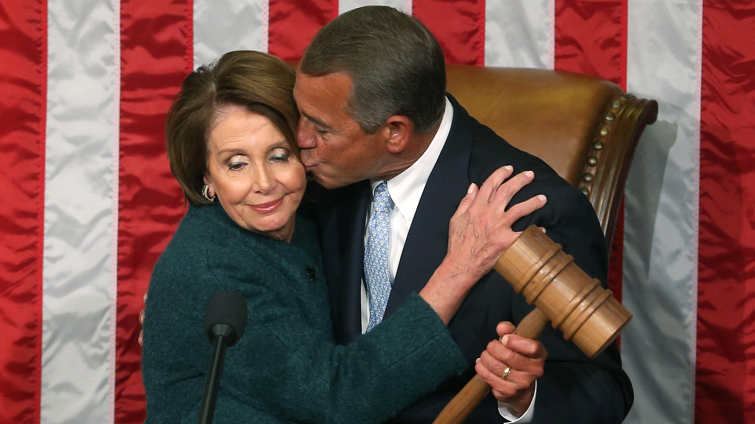 House Speaker John Boehner takes the gavel from Democratic Minority Leader Nancy Pelosi Jan. 6 at the start of the 114th Congress. Mark Wilson/Getty