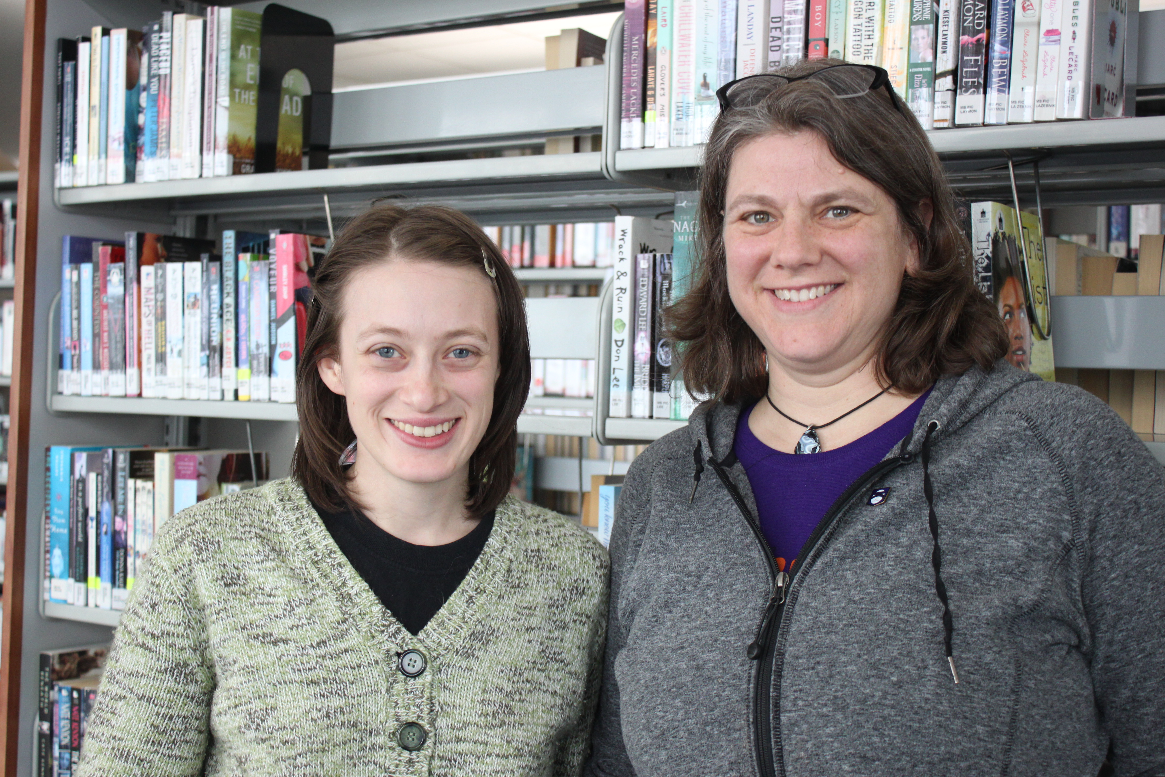 Juneau Public Libraries librarian Andrea Hirsh and program coordinator Beth Weigel. (Photo by Lisa Phu/KTOO)