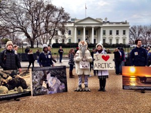 Demonstrators at the White House mark the anniversary of the 1989 Exxon Valdez oil spill. (Photo by Liz Ruskin/APRN)
