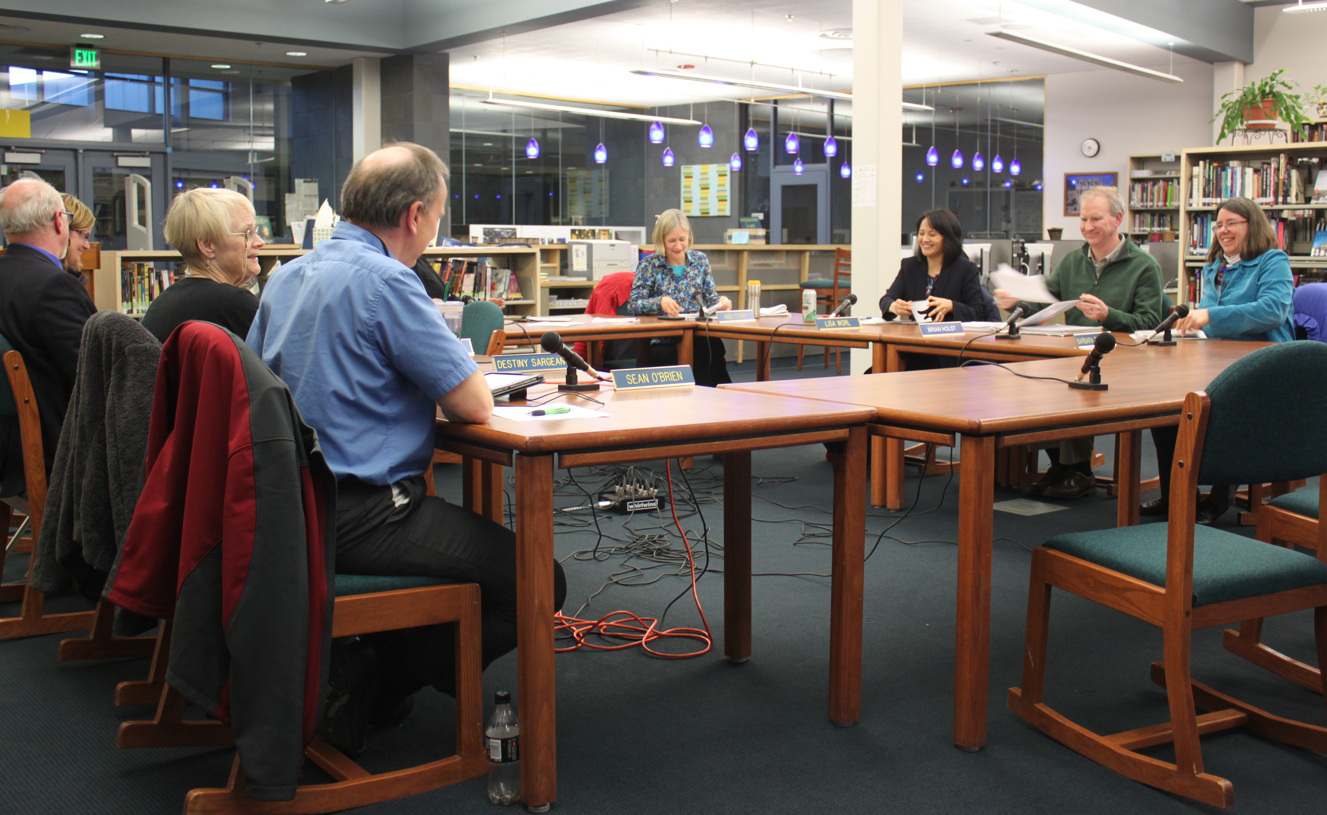 The Juneau School Board held a special meeting Tuesday night to approve next year's budget. (Photo by Lisa Phu/KTOO)