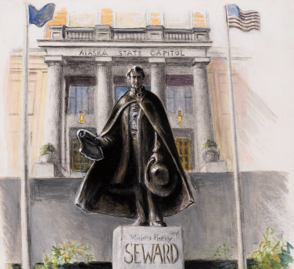 Sketch by David Rubin of proposed William Henry Seward sculpture, courtesy of Wayne Jensen.