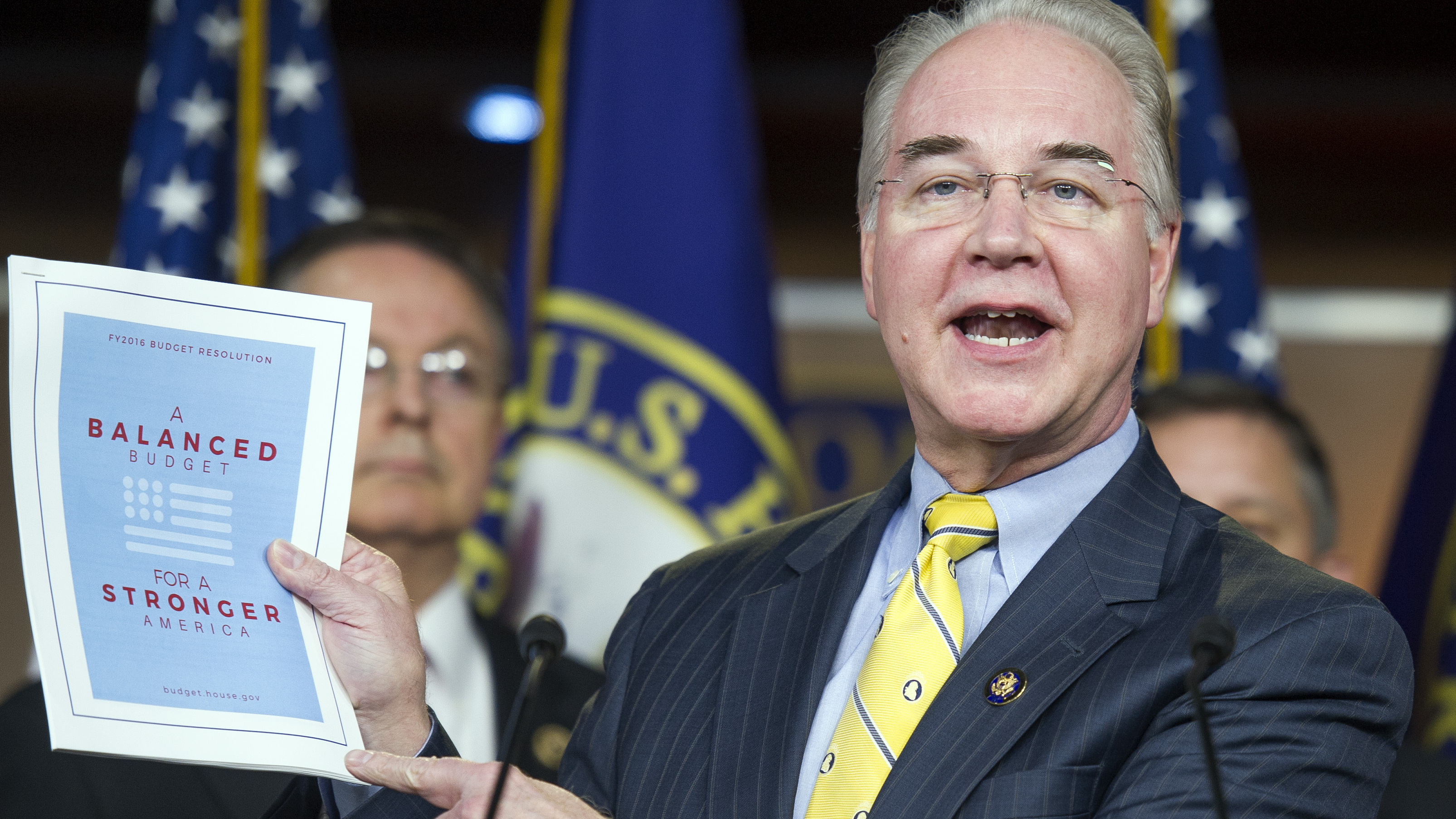 "Republican Rep. Tom Price, House Budget Committee chairman, said Tuesday that his budget ""saves $5.5 trillion, gets to balance within 10 years, without raising taxes."" Cliff Owen/AP"
