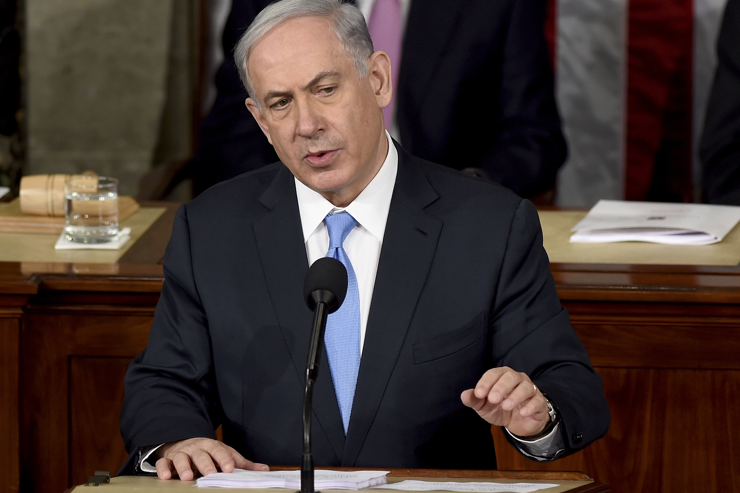 "Israeli Prime Minister Benjamin Netanyahu speaks before a joint meeting of Congress on Capitol Hill in Washington on Tuesday. He called the deal the U.S. and its allies are negotiating with Iran ""very bad. (Photo by Susan Walsh/AP)"