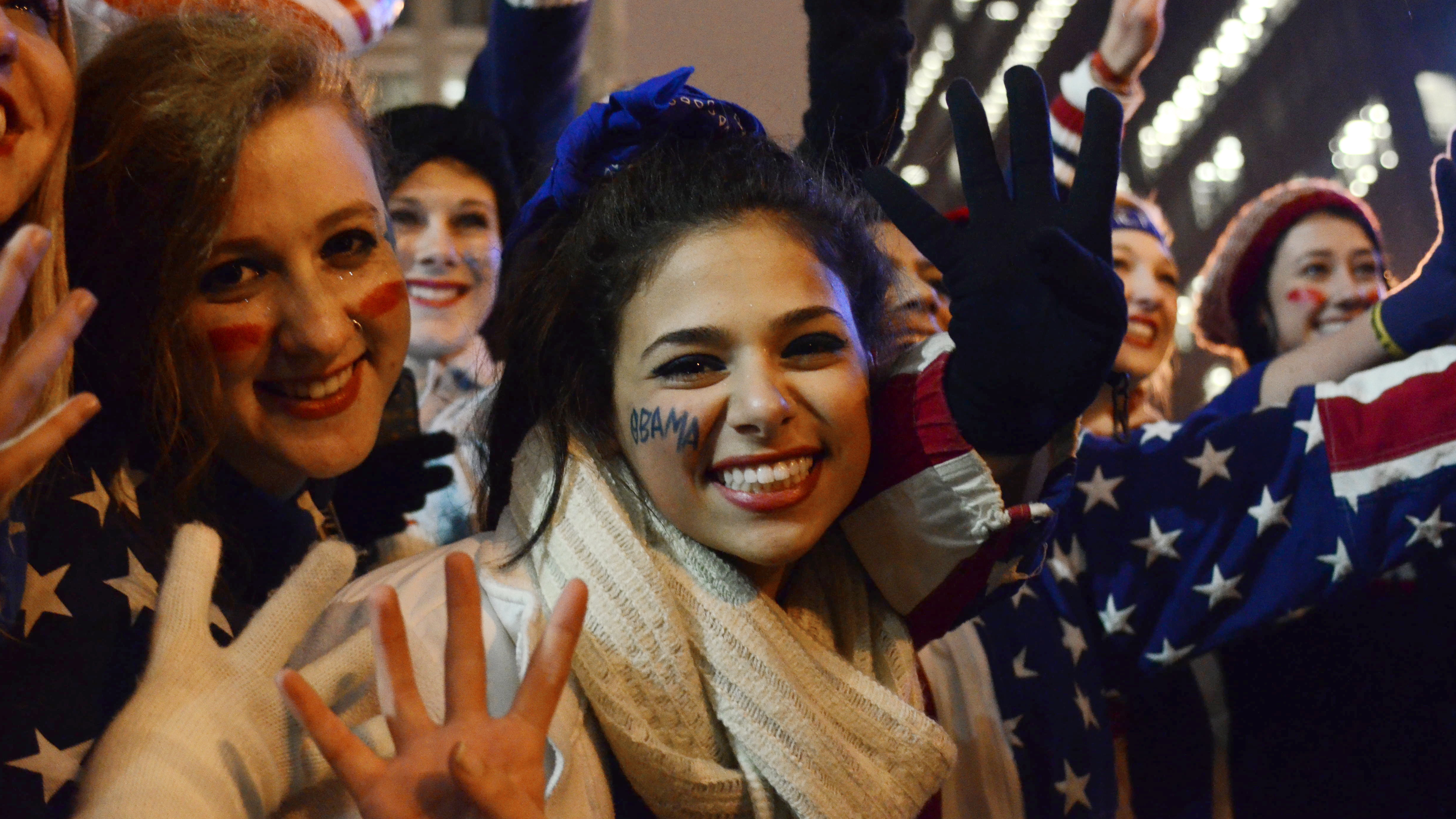 Young women celebrate election results in 2012. (Photo by AFP/AFP/Getty Images)