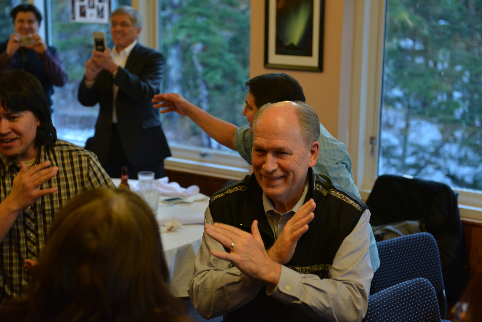 Gov. Bill Walker dances during a ceremony at a Tlingit Haida Central Council function in Juneau where he was adopted into the Kaagwaantaan Clan, April 17, 2015.  (Creative Commons photo courtesy Alaska Governor's Office)