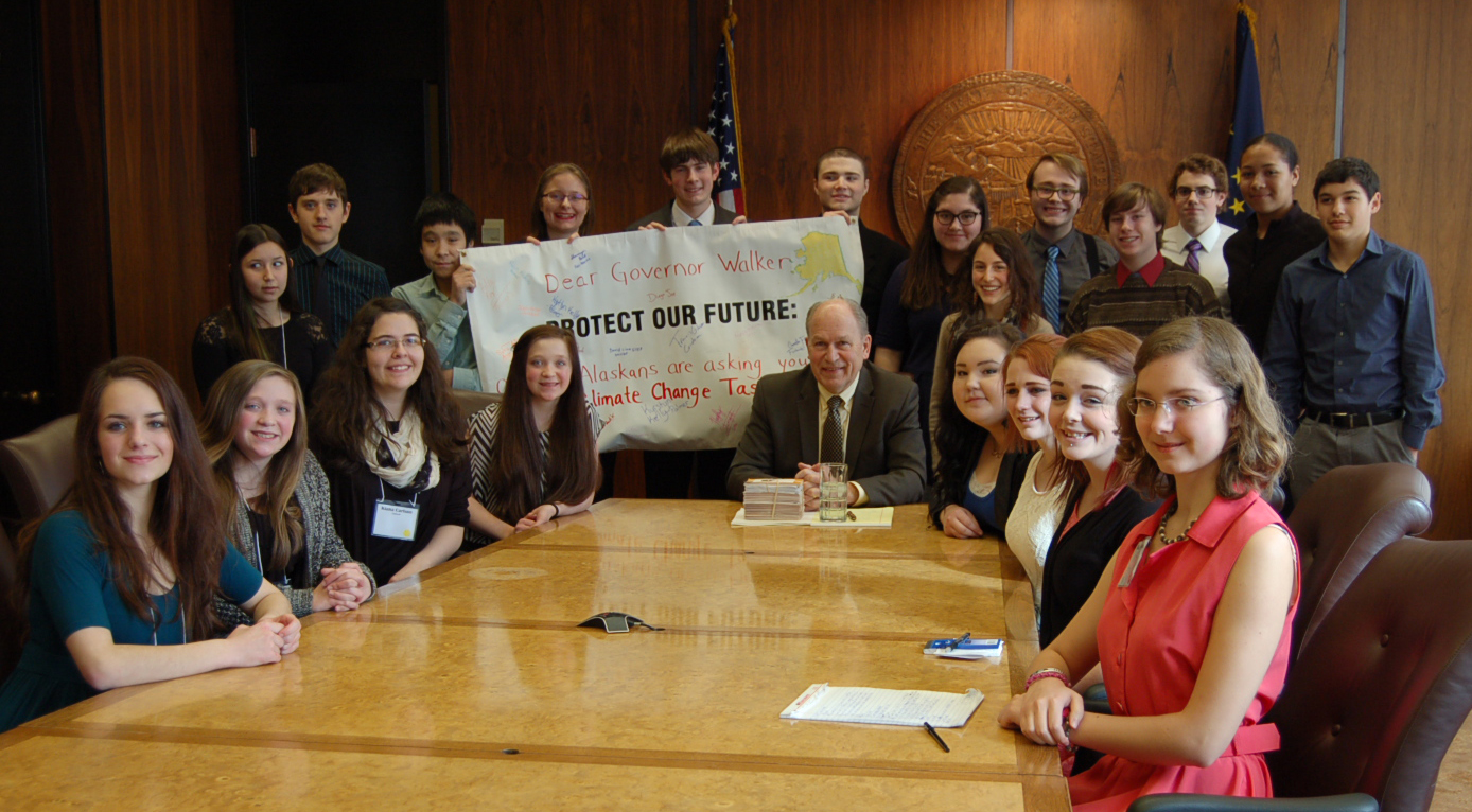 The teens met with the governor to discuss their ideas. (Photo courtesy of AYEA)