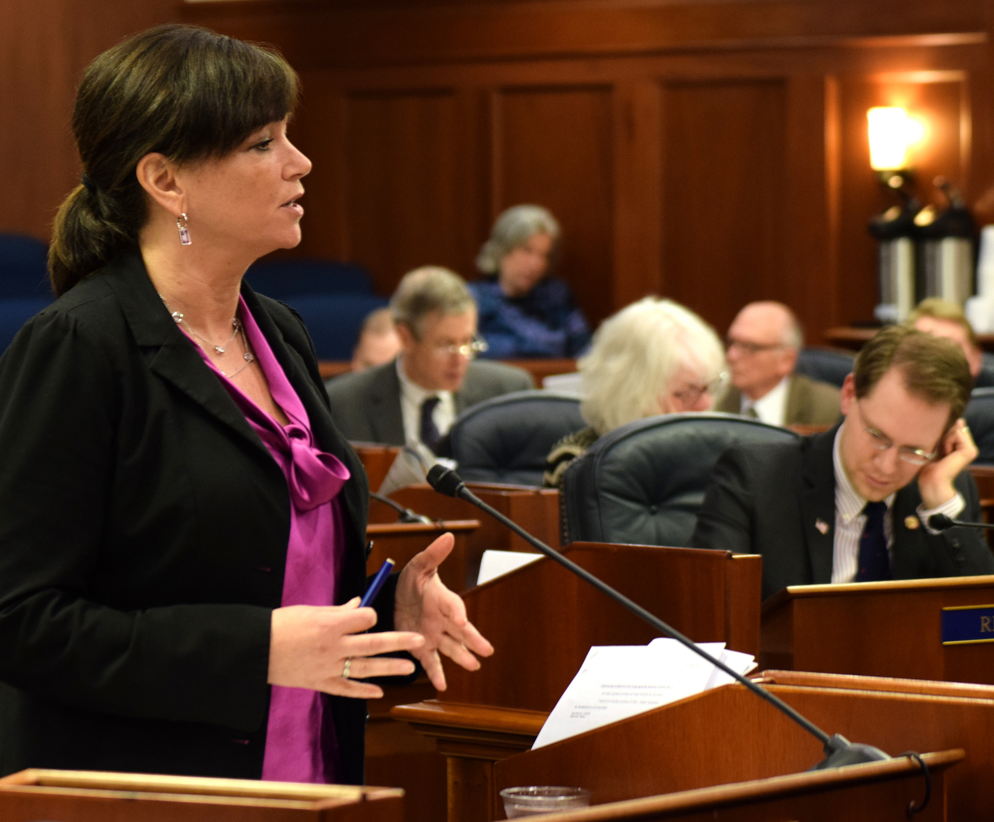 "Rep. Charisse Millett, R-Anchorage, wraps up debate on House Bill 44, also known as ""Erin's Law,"" in the Alaska House of Representatives on Saturday. (Photo by Skip Gray/360 North)"