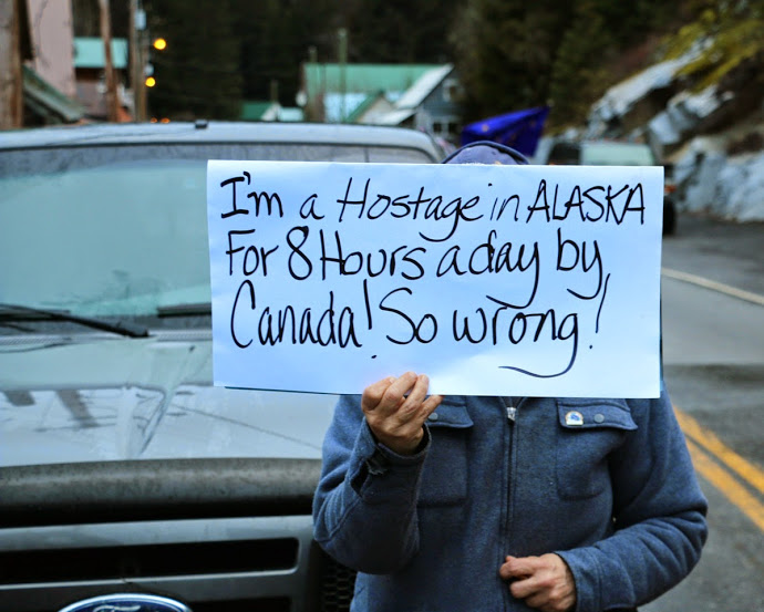 Residents of Hyder, Alaska, and Stewart, British Columbia, protest the nightime closure of the border between the two towns. (Courtesy  Sylvia Alderton/The Terrace Standard)