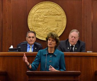 U.S. Sen. Lisa Murkowski, R-Alaska, during her annual address to the Alaska Legislature, Feb. 18, 2015. (Photo by Skip Gray/360 North)