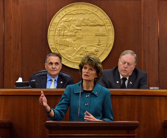 U.S. Sen. Lisa Murkowski, R-Alaska, during her annual address to the Alaska Legislature, Feb. 18, 2015. (Photo by Skip Gray/360 North)