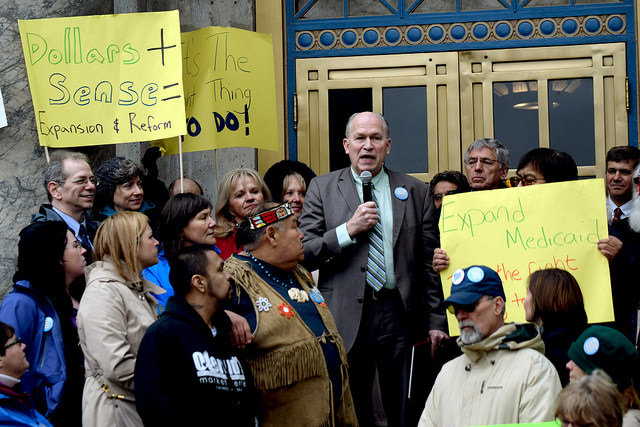 Gov. Bill Walker, I-Alaska, during a Medicaid expansion rally at the State Capitol, April 16, 2015. (Photo by Skip Gray/360 North)