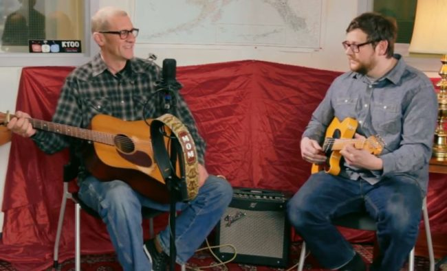 Sean Tracey and Nate May played live for KTOO staff on Friday, April 10, 2015.