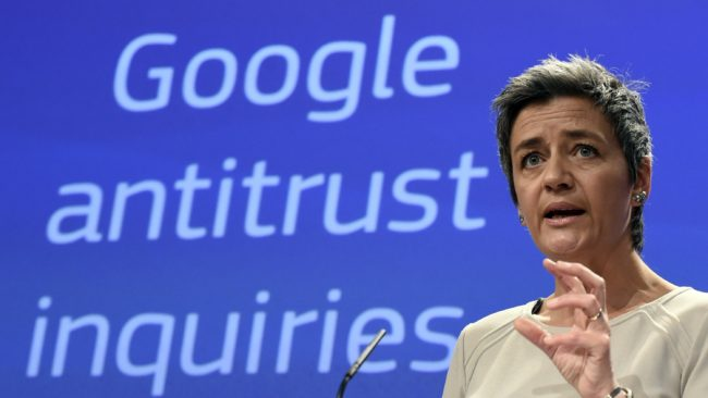 European Competition Commissioner Margrethe Vestager announces formal charges against Google, accusing the company of abusing its dominant position as Europe's top search engine. (Photo by John Thys/AFP/Getty Images)