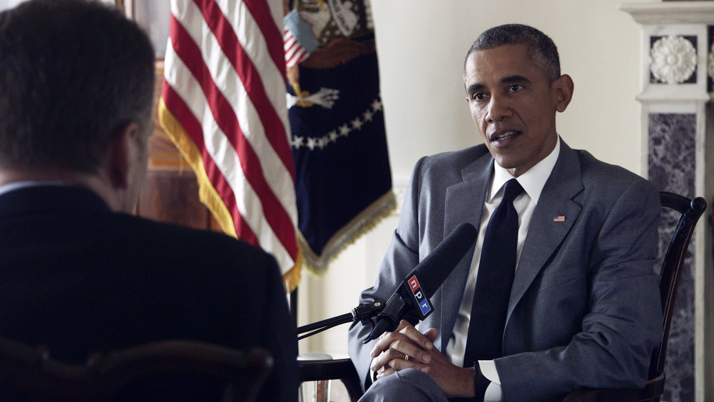 NPR's Morning Edition host Steve Inskeep interviews President Obama at the White House on Monday.