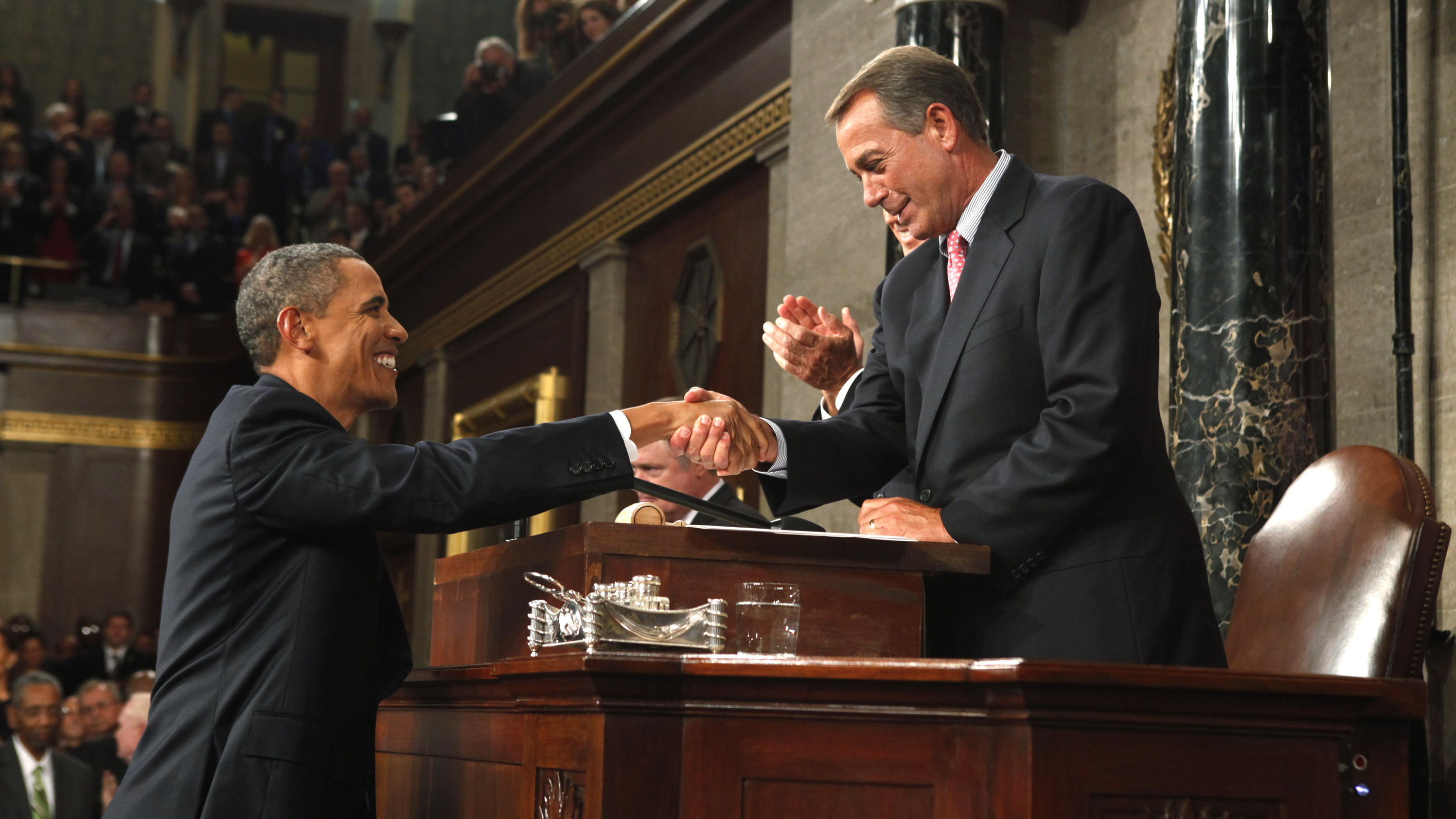 President Obama shakes Speaker John Boehner's hand before the start of a 2011 joint session of Congress. Pool/Getty Images