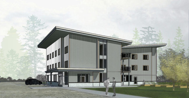 This concept drawing by MRV Architects shows the proposed Housing First project in Juneau. The facility would be built in Lemon Creek on land contributed by Tlingit-Haida Regional Housing Authority.