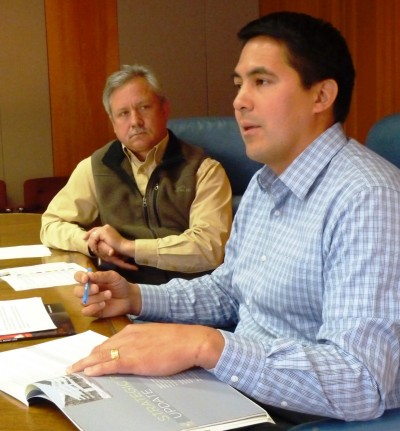 Sealaska CEO Anthony Mallott, right, discusses the regional Native corporation's earnings and losses as Chief Financial Officer Doug Morris looks on. (Photo by Ed Schoenfeld/CoastAlaska News)