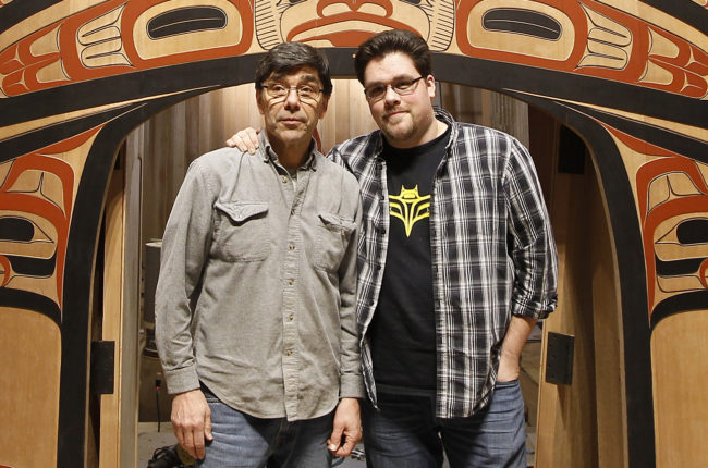 David A. Boxley (left) and son David R. Boxley collaborated on the Tsimshian clan house front. (Photo by Brian Wallace/Sealaska Heritage Institute)