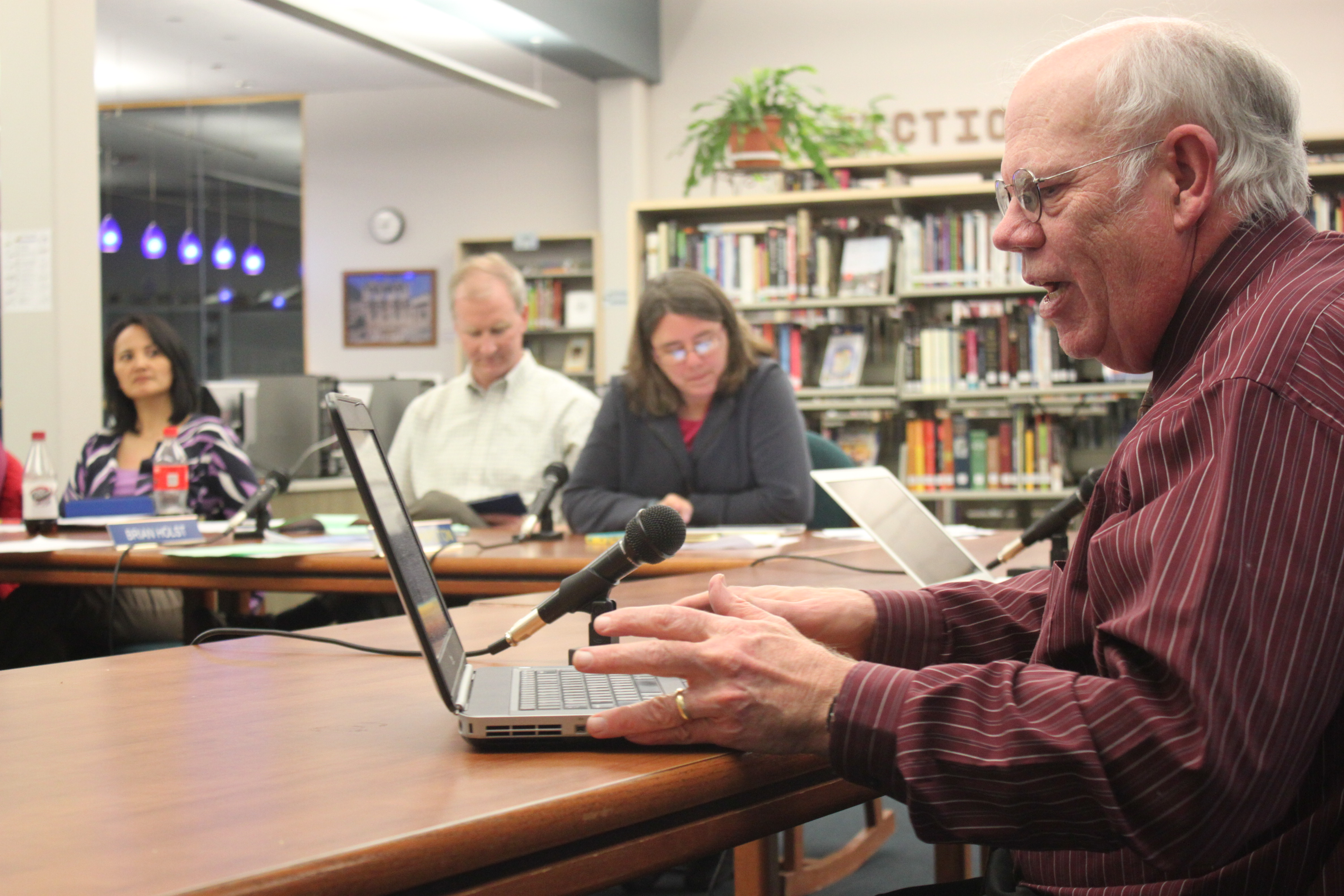 Juneau School District finance head David Means addresses the school board during Tuesday night's regular meeting. (Photo by Lisa Phu/KTOO)