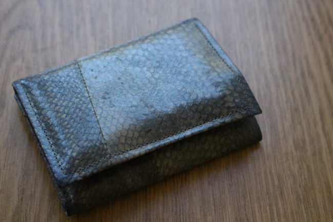 Tidal Vision's salmon leather wallets will retail for about $75. (photo by Elizabeth Jenkins/KTOO)