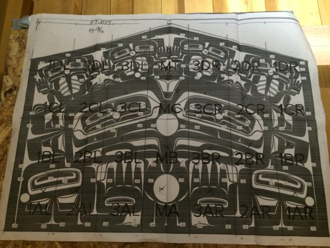 The blueprint of Singletary's 28 glass panels. They weigh close to 1,500 ponds all together. (Photo by Scott Burton/KTOO)