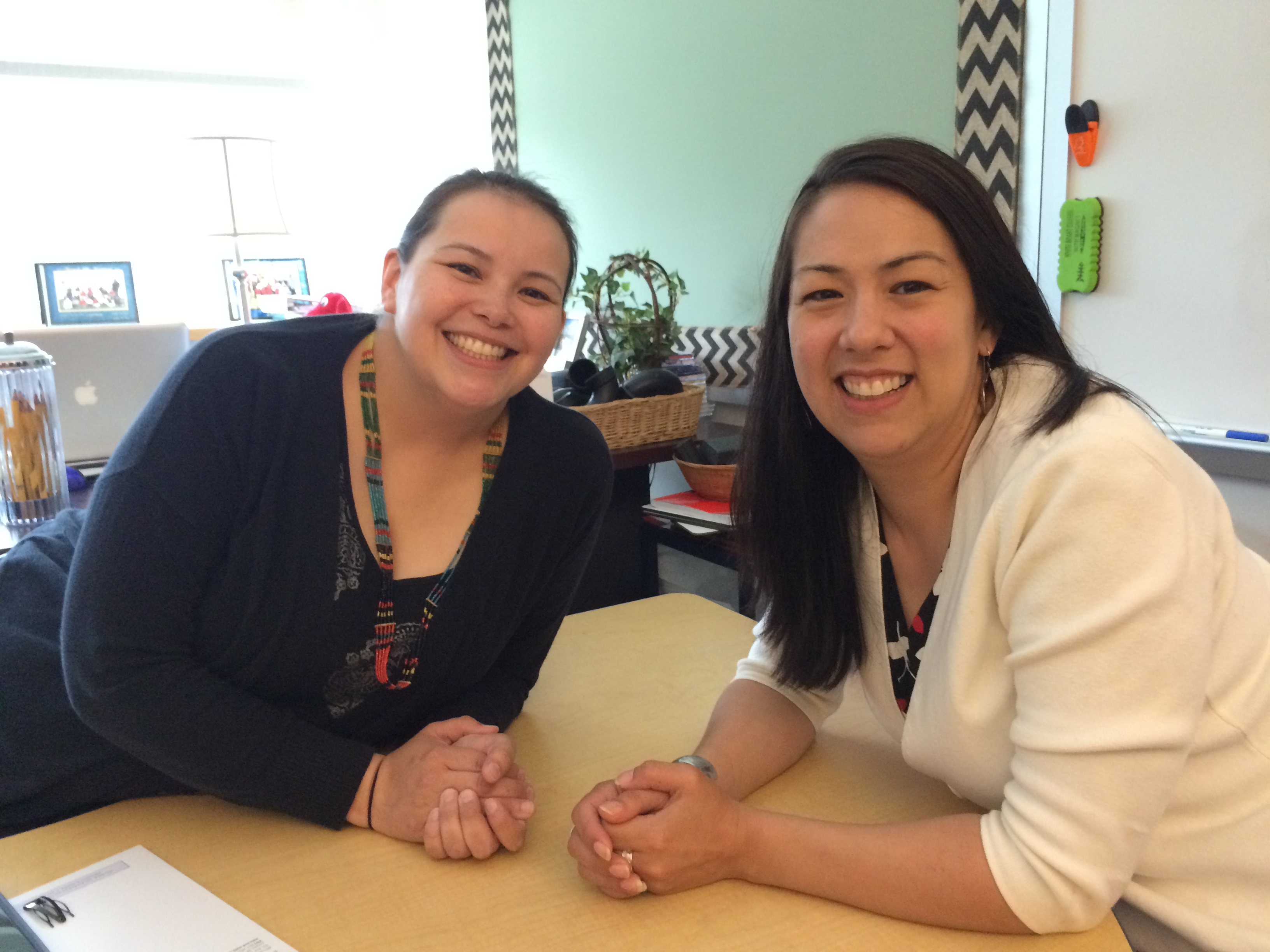 Jessica Chester (left) is a Tlingit language specialist that works in Eddy's classroom. Shgen George has been with the program since 2002 and teaches a combination fourth- and fifth-grade class. (Photo by Scott Burton/KTOO)