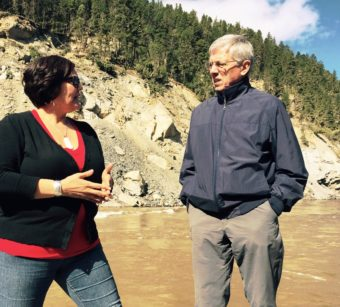 Alaska Lt. Gov. Byron Mallott discusses the Xat'sull people's traditional fishing on the Fraser River with tribal council official Jacinda Mack on May 6, 2015. The Xat'sull live in the area damaged by August's Mount Polley Mine tailings dam collapse. They're concerned about reopening plans. (Photo courtesy Office of the Governor)