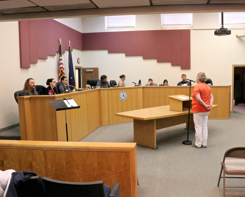 Doreen O'Brien addresses Bethel City Council on the local heroin problem. (Photo by Dean Swope / KYUK)
