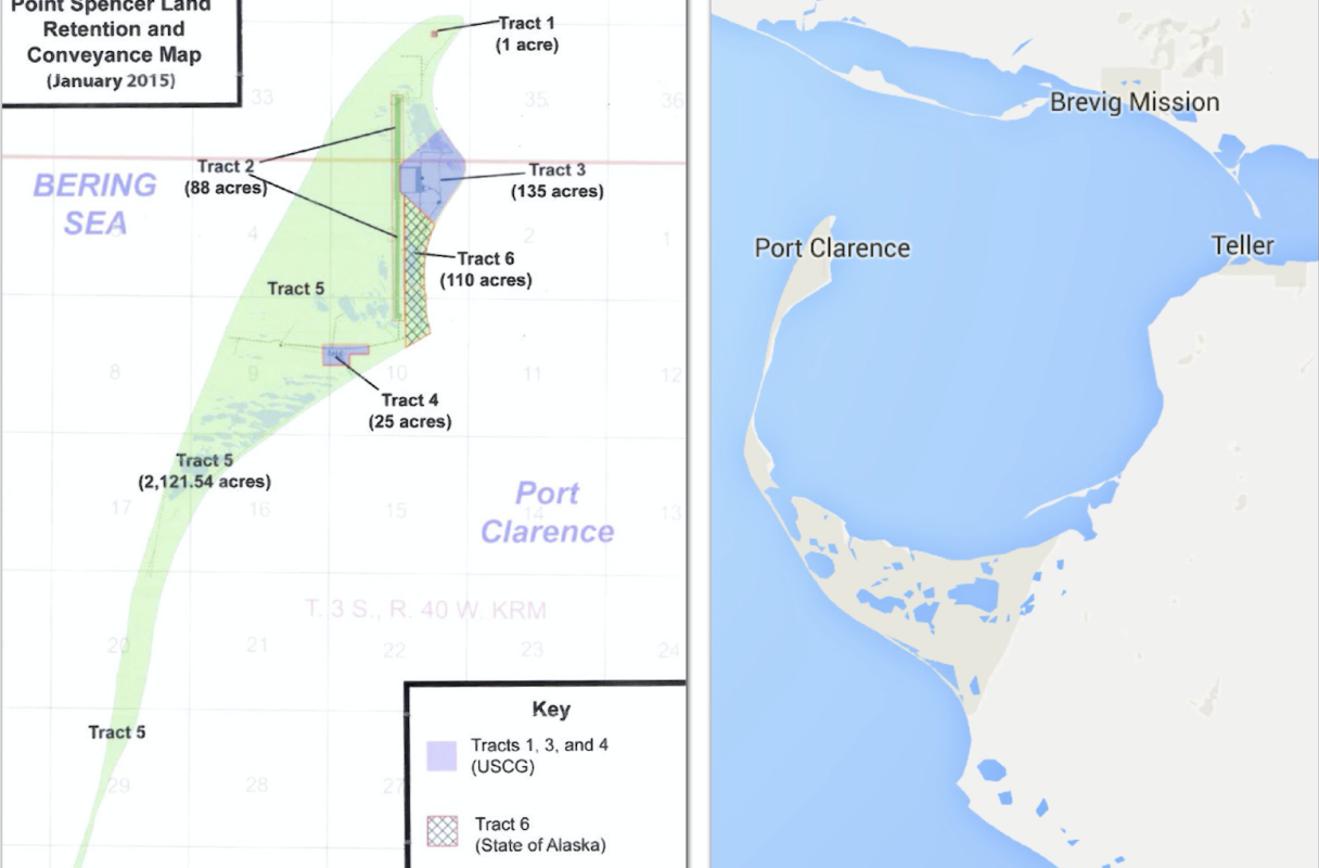 A map of the Point Spencer allotment shows the BSNC portion in green, the Coast Guard portion in purple, and the State of Alaska portion in checkerboard. (Image courtesy of the Office of Rep. Don Young, Google)