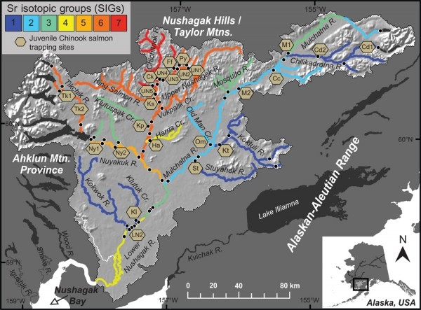 Researchers found 7 distinct strontium isotope zones in the Nushagak watershed.
