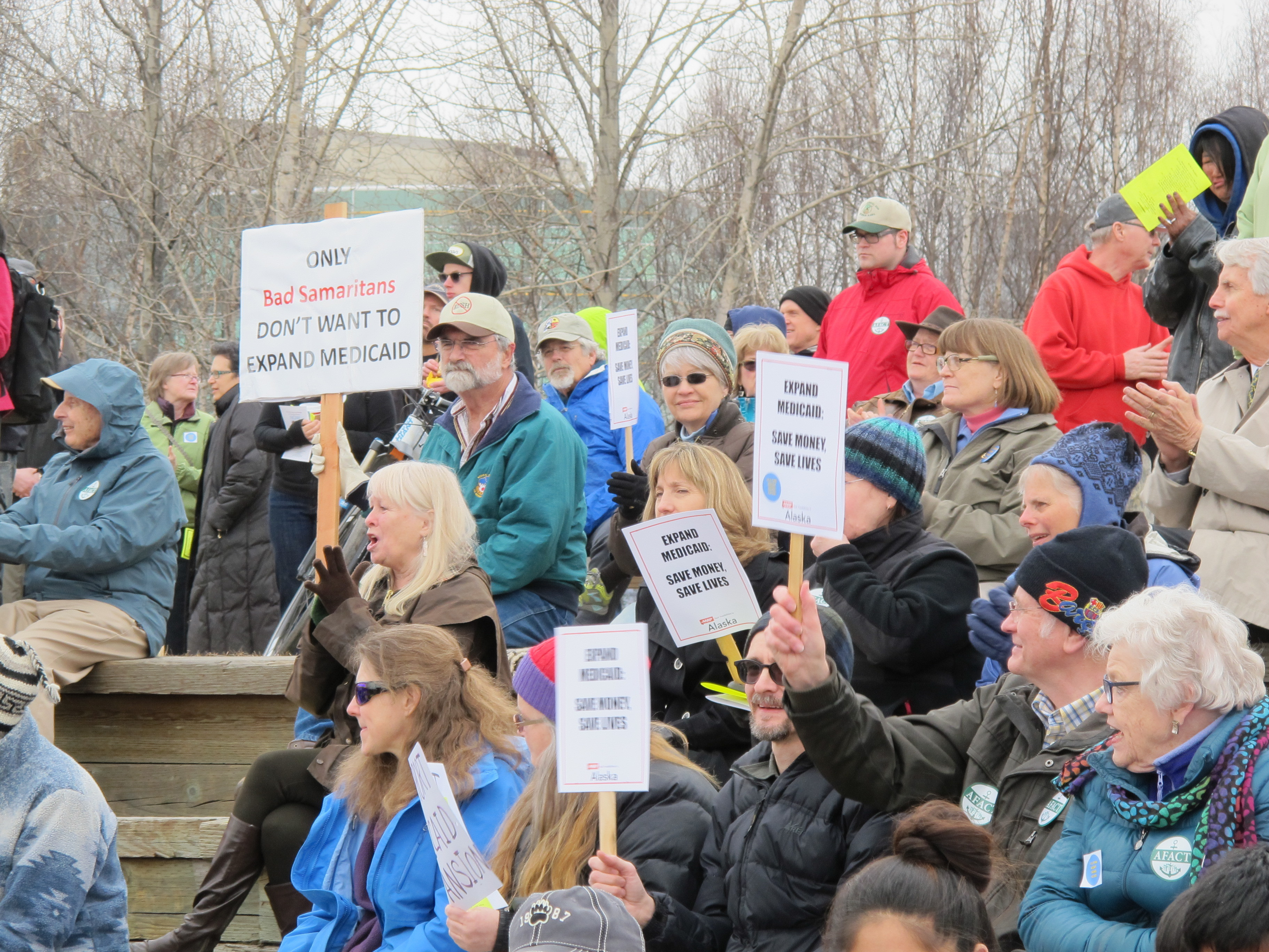 Alaskans attend a rally in Anchorage for Medicaid expansion. (Jonathan Casurella/Alaska Public Media)