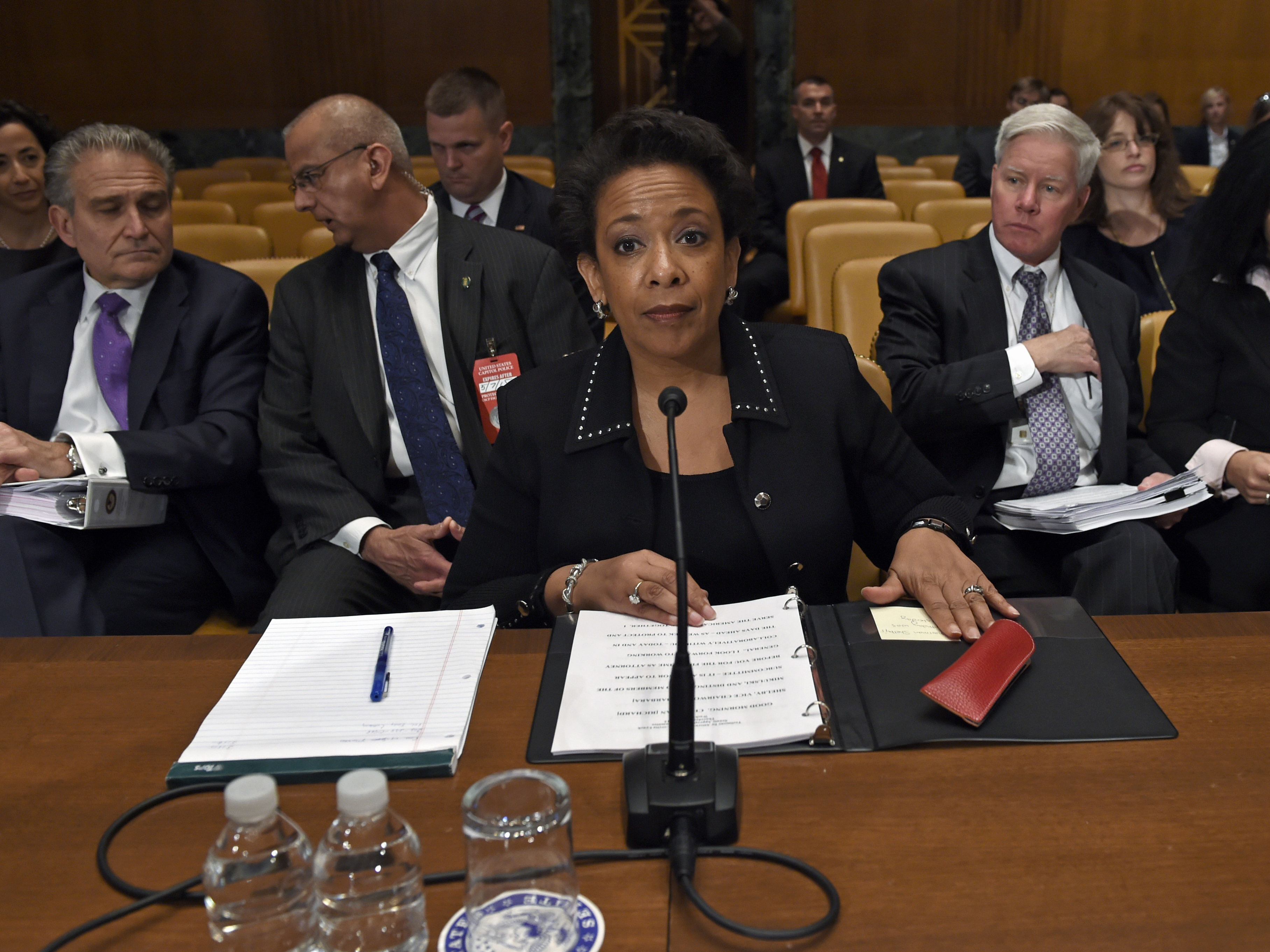 Attorney General Loretta Lynch prepares to testify Thursday at a budget hearing on Capitol Hill in Washington. Susan Walsh/AP