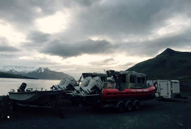 Because the Coast Guard anticipates heightened marine traffic, two 25-foot response boats will patrol waters off the coast of Dutch Harbor this summer. (Photo by Emily Schwing/KUCB)