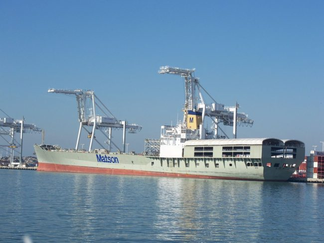 The Matson ship Lurline in the Port of Oakland. (Creative Commons photo by Eugene Zelenko)
