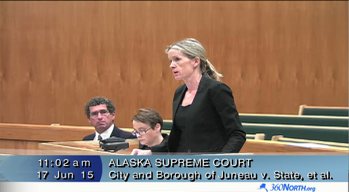 Janell Hafner, a state attorney for the Local Boundary Commission, argues her case before the Alaska Supreme Court, June 17, 2015, in this Gavel Alaska video still. Also pictured: Juneau Deputy City Manager Rob Steedle and Juneau City Attorney Amy Mead.