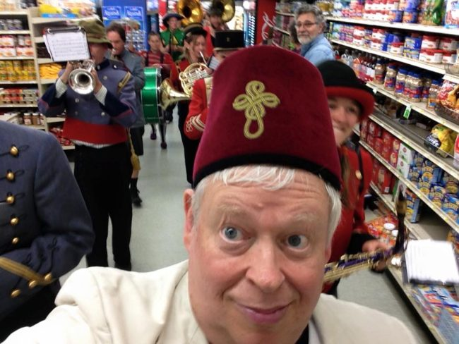 A selfie shot while the New Old Time Chautauqua band  marches through a Wrangell supermarket, June 25, 2015. (Photo by Eben Sprinsock/New Old Time Chautauqua)
