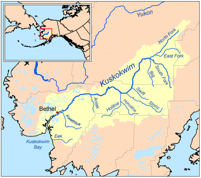 Map of the Kuskokwim River watershed. (Creative Commons image by Kmusser)
