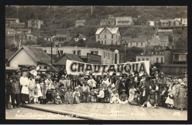 """School Children's 'Chautauqua' Demonstration"" in Juneau, Sept. 21, 1921.  (Alaska State Library, David & Mary Waggoner Photographs & Papers, 1900-1940, Winter & Pond, ASL-PCA-492)"