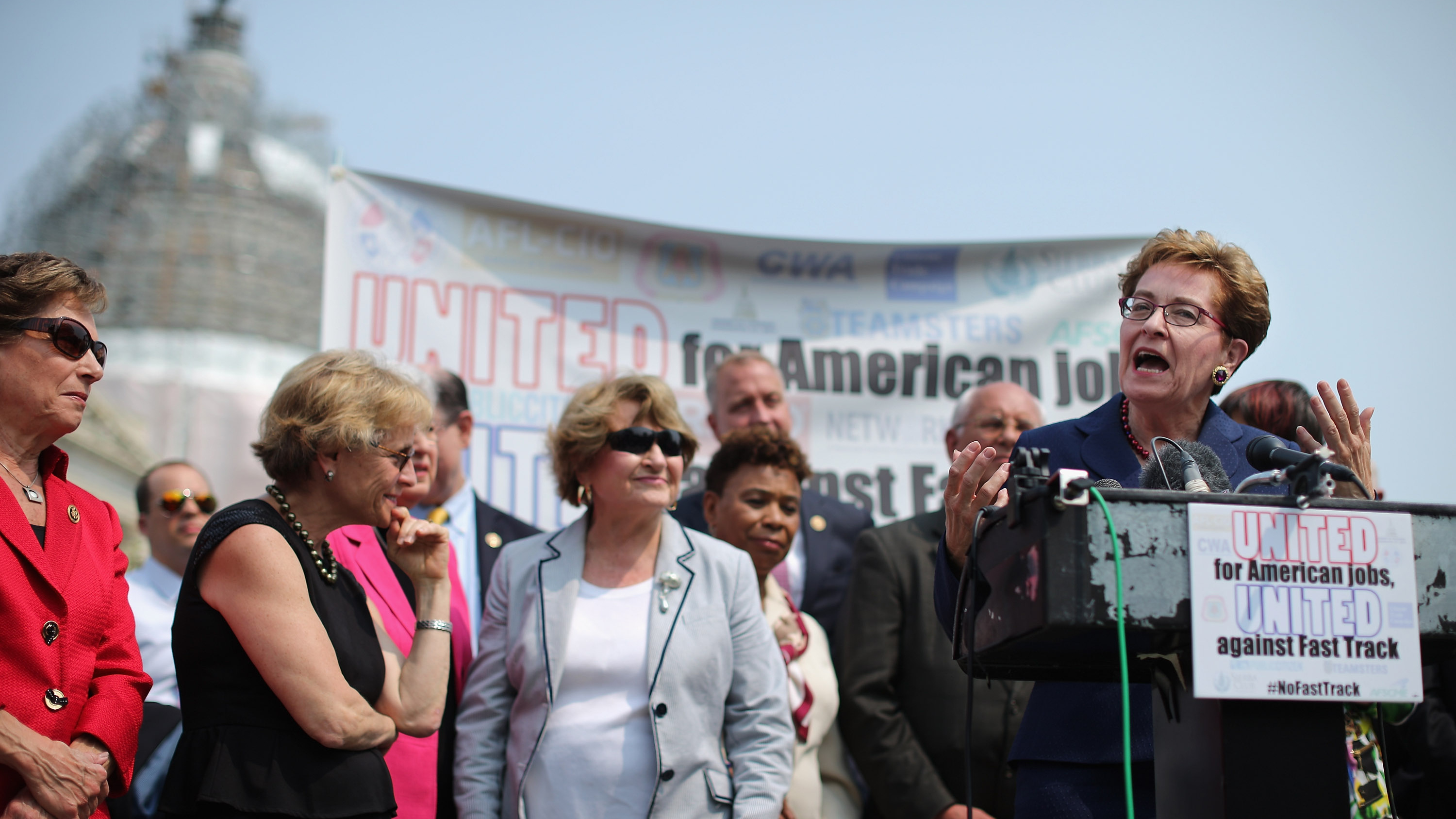 Rep. Marcy Kaptur, D-Ohio, and fellow Democratic members of Congress hold a news conference to voice their opposition to the Trans-Pacific Partnership trade deal. Chip Somodevilla/Getty Images