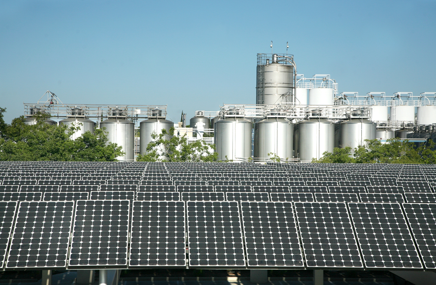 Part of the solar array that covers much Sierra Nevada's brewery in Chico, Calif. The more than 10,500 panels that span the equivalent of 3.5 football fields supply about 20 percent of the brewery's electricity. Courtesy of Sierra Nevada Brewing Co