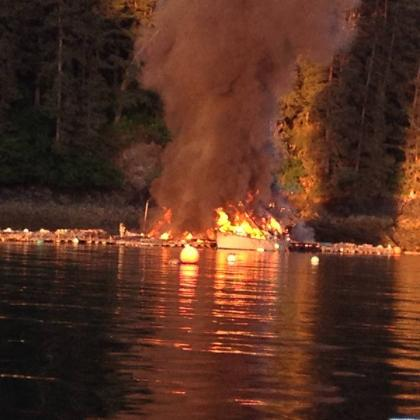 Fire in Little Jakolof Bay. (Photo courtesy of Jan Flora)