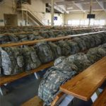 Jump packs are laid out at Joint Base Elmendorf-Richardson ahead of a mission