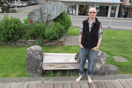 Peter Epler, a pastor at Ketchikan Church of the Nazarene, is going barefoot for a month to raise awareness of the need for shoes in third-world countries. (Photo by Leila Kheiry/KRBD)