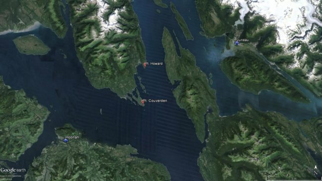 Wings of Alaska flight 202 from Juneau to Hoonah has crashed on land, according to a 3 p.m. Coast Guard broadcast. The plane is reported to have gone down somewhere between Point Howard and point Couverden. (Image from Google maps)