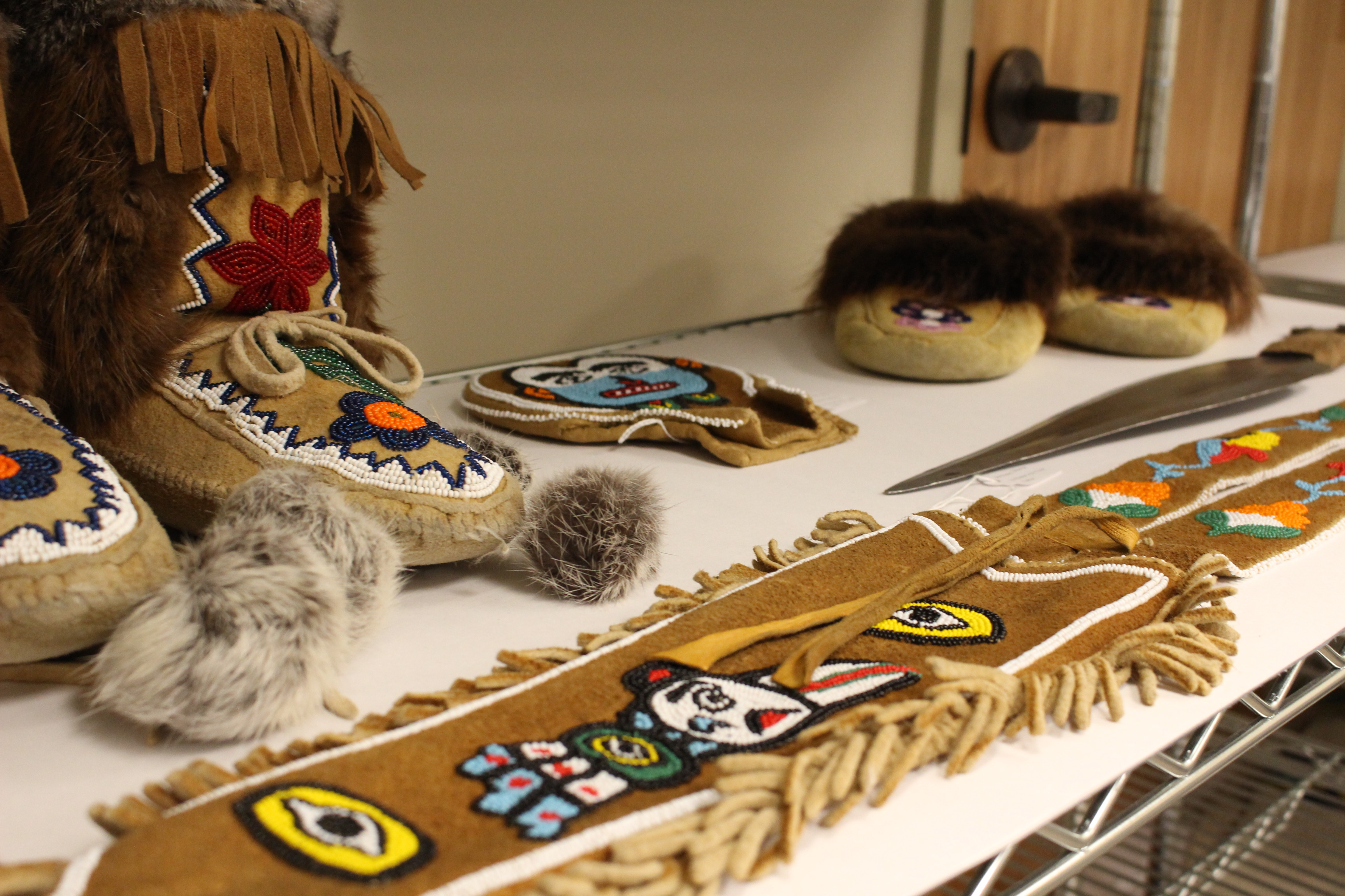 Items in storage at Sealaska Heritage Institute. (Photo by Elizabeth Jenkins/KTOO)