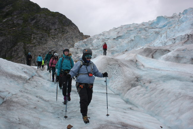 Teachers were outfitted with crampons, helmets and ice axes. (Photo by Lisa Phu/KTOO)