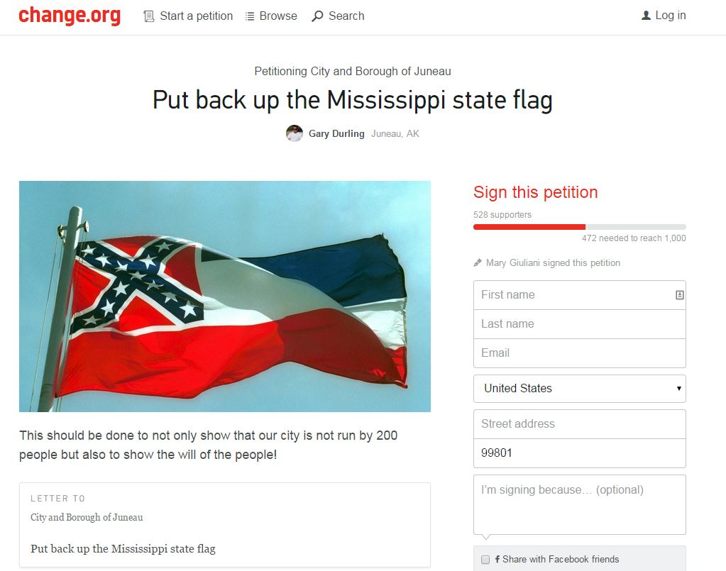 A screenshot of the Change.org petition to put the Mississippi flag back up as part of Juneau's all-states flag display.